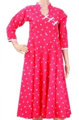 Attractive Polka dotted Pink anarkali