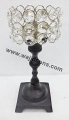 Black Metal Crystal Candle Stand