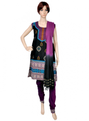 Black and Purple Cotton Full Suit with Block Prints