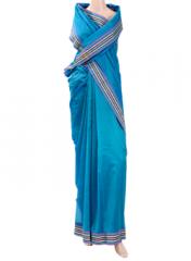 Peacock Blue zari bordered saree