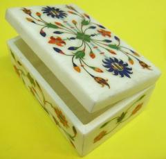 Designer Stone Jewelry Box, Marble Inlay Box Artwork, Marble