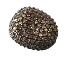 Pave Setting Silver Bead