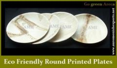 Eco Friendly Round Printed Flat Plate Sets