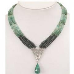 3 Strand Emerald Drop Bead Designer Necklace