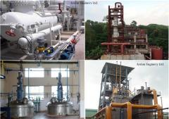 Used lube oil recycling plant and machines.