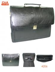 Leather laptop cum office bag 4206