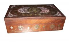 WOODEN BOX WHITE ENAMEL & BRASS INLAY