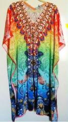Ladies Embellsihed Silk Kaftans