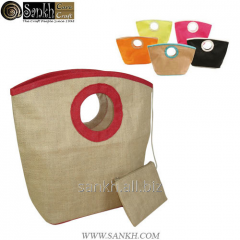 Jute shopping bag with round self handle natural color bag
