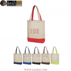 Self handle jute shopping bag with 2 color combination