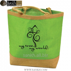 Jute shopping bag with cotton webbed handle