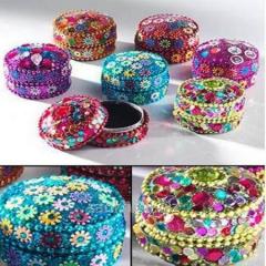 Round Mini Glitter & Beads Trinket Box Jewelry boxes