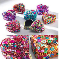 Heart Shaped Mini Trinket Box With Glitter & Beads