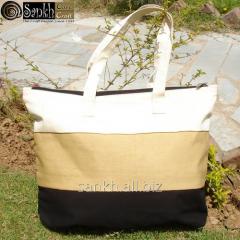 Cotton Striped Bag with zipper closing