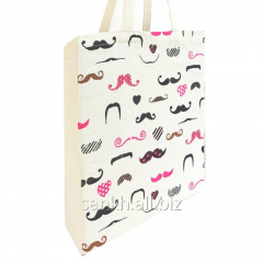 Cotton canvas bags with mustache print on both side