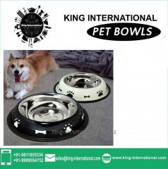 Black & White Coloured Pet Bowls Set of 2