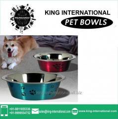 Red & Green Pet Bowls Set of 2 pcs