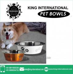 White & Brown Pet Bowls Set of 2 pcs