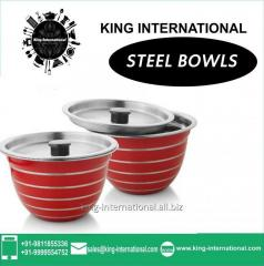 Red Round Steel coloured Bowls Set of 2 pcs