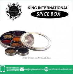 Steel Coloured Spice Rack With Transparent Lid