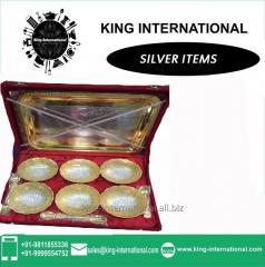 Brass Golden & Silver Bowls Set of 6 pcs