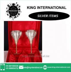 Brass Silver Wine Glasses Set of 2 pcs