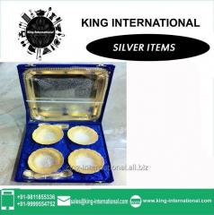 Brass Golden Katori/Bowl Set of 4 pcs With spoons & Tray in Blue Velvet Box