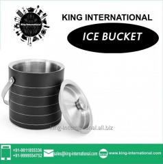 Black Ice Bucket With Silver Lining