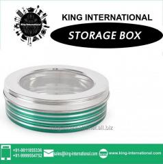 Green Storage Box With Glass Lid