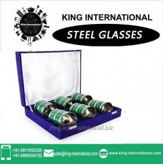 Green Glasses/Tumbler Set of 6 pcs In Blue Velvet Box