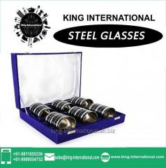 Black Glasses/Tumbler Set of 6 pcs In Blue Velvet Box