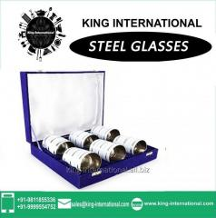 White Glasses/Tumbler Set of 6 pcs In Blue Velvet Box