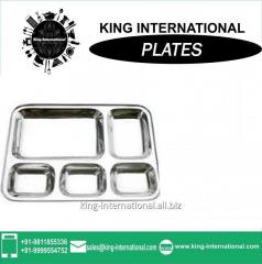 Stainless steel 5 compartment dinner plate/mess