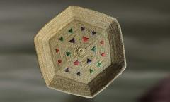 Hexagonal Plate with Colored Patterns