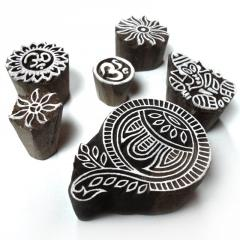 Indian Religious and Floral Motif Block Print Wood Stamps