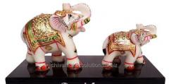 Elephant family With Wooden Base
