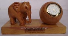 Wooden Table Top with Elephant and clock