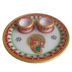 Marbal pooja plate diya
