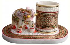 Marble elephant with penholder