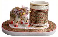 Marble elephant with penholder