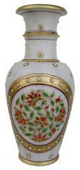 Marble flower vase white