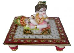 Marble krishna with clock jail