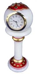 Marble pedestal clock red