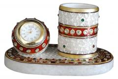 Marble penholder with clock