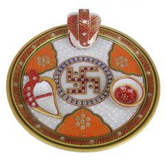 Marble Pooja Plate Colourfull