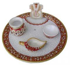 Marble pooja plate Ganeshji diya lotta shank