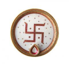 Marble pooja plate jewellery work