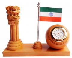 Wooden  ASHOKA PILLAR+ FLAG+ CLOCK