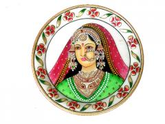 Marble round plate lady stone