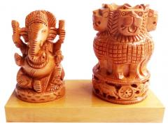 Wooden Ashoka pen Holder with Ganesh ji